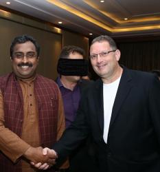 Marc Kahlberg and Varanasi Ram Madhav, National General Secretary of the Bharatiya Janata Party, India